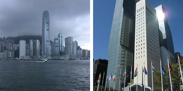 Two photos of big cities shown next to each other. Left photo shows cloudy weather, whereas right photo shows sunny weather.