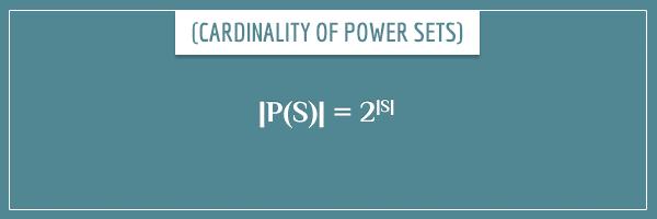 |P(S)| = 2 ^ |S|
