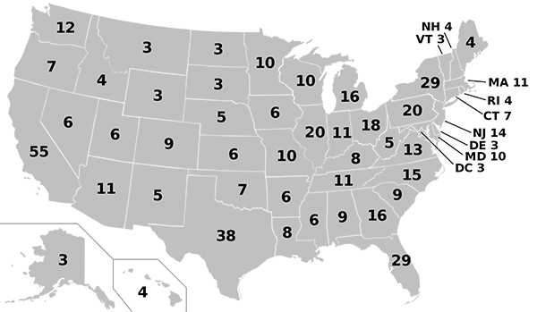 a us map showing the number of delegates each state gives