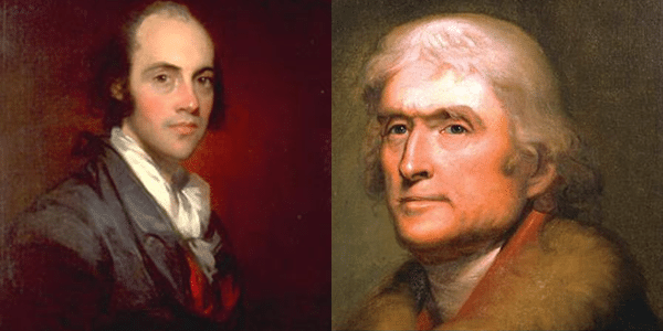 Portraits of Aaron Burr and Thomas Jefferson