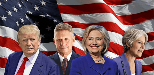 Trump, Johnson, Clinton, and Stein with an American flag in the background.