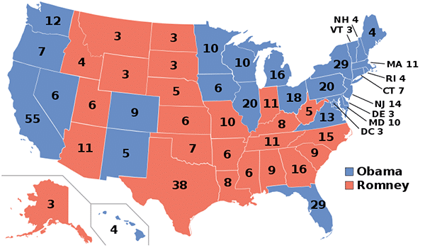 A color-coded map of the 2012 election results between Obama and Romney