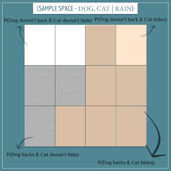 A square representing the conditional joint sample space of dog bark and cat hide, given that it rains