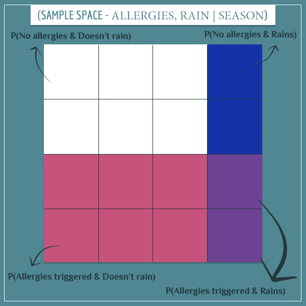 A square representing the conditional joint sample space of allergies and rain, given that the season is spring