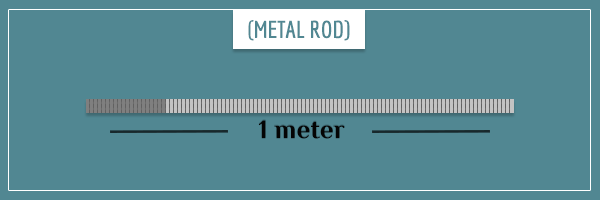 A marked rod 1 meter long and with a mass of 1 kg
