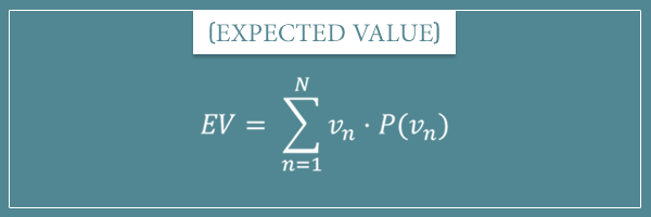 The equation of expected value expressed with the sum operator