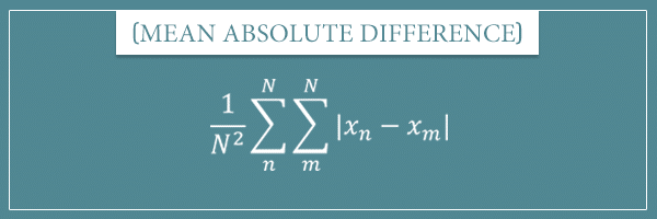 The formula for the statistical dispersion measure called mean absolute difference