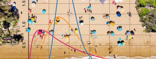 A set of binomial distributions laid on top of a beach background