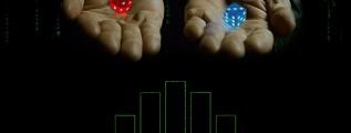 A discrete probability distribution, two hands holding dice, and a background referencing the movie The Matrix