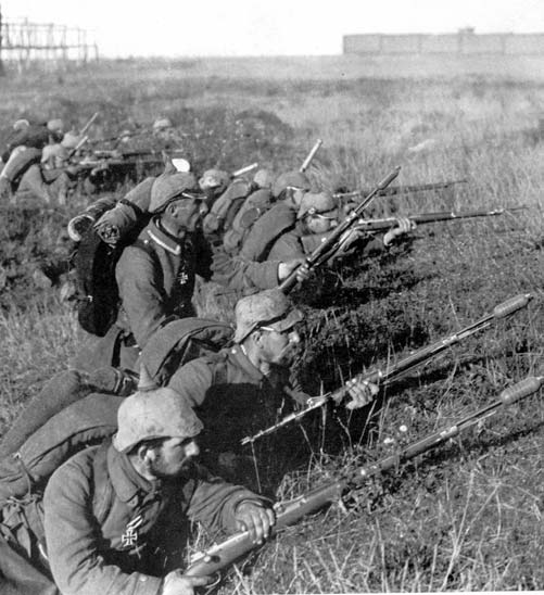 A photo of German soldiers holding rifles in the trenches during the battle of Marne in World War I