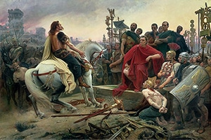Vercingetorix Throws Down His Arms at the Feet of Julius Caesar, 1899, by Lionel Noel Royer
