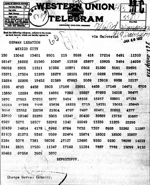 World War I codes: the Zimmermann Telegram written in code