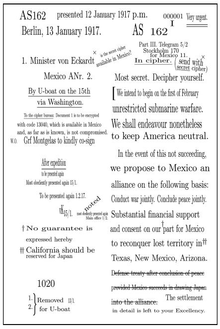 English translation of the original draft of the Zimmermann Telegram