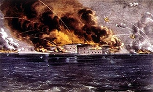 A drawing of the bombardment of Fort Sumter