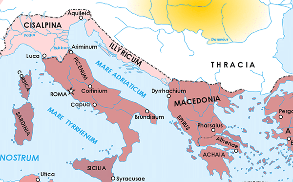 A map of the Roman Republic from the Roman Civil War