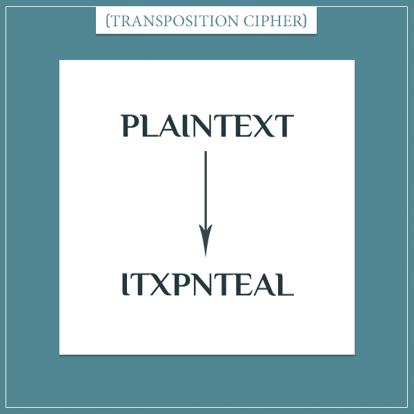 "An illustration of a crytographic transposition cipher where the order of the letters in the text ""plaintext"" is mixed"