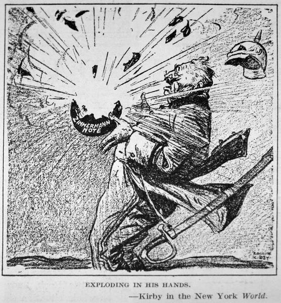 A caricature of the German foreign minister Arthur Zimmermann with a bomb representing his famous telegram exploding in his hands