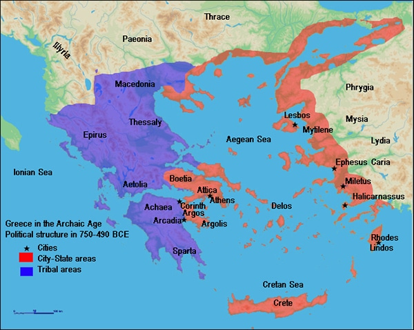 A map of Archaic Greece in 750-490 BCE