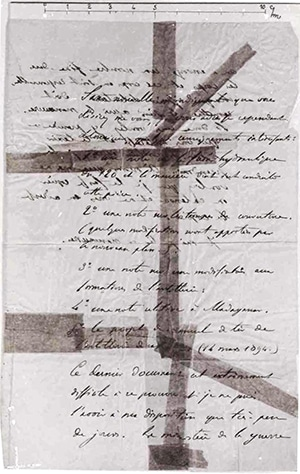 A photograph of the bordereau