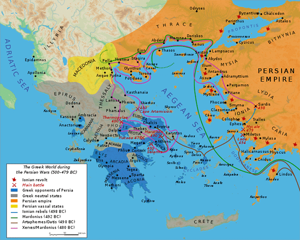 A map of the Greco-Persian Wars in 500-479 BCE