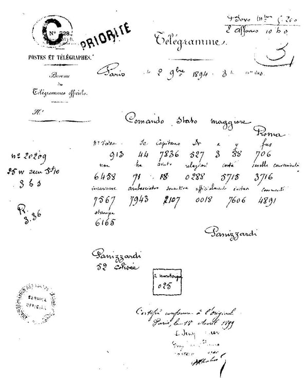 The encoded telegram by Panizzardi , along with the Italian meaning on top of each code block