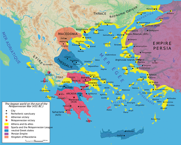 A map of the Peloponnesian War in 431–404 BCE
