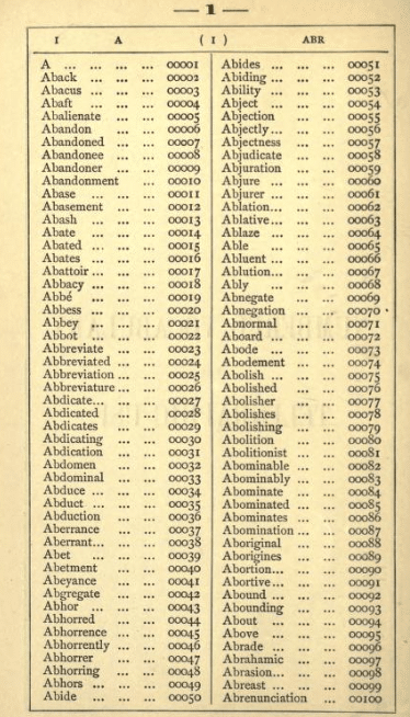 A codebook page with words listed in alphabetic order, each with an assigned number