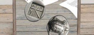 An ancient Greek coin with an unusual shape and lopsidedness