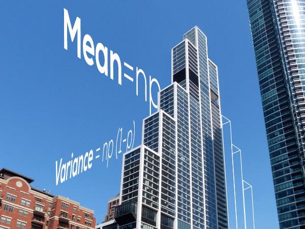 A skyscraper resembling a binomial distribution