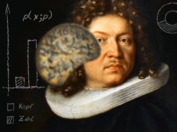 A portrait of Jacob Bernoulli with a 17th century Swiss coin in the background