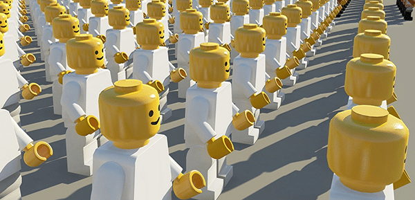 A crowd of white Lego figures