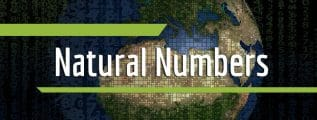 """Many numbers of different sizes with the planet Earth in the background and the text """"natural numbers"""" in the foreground"""