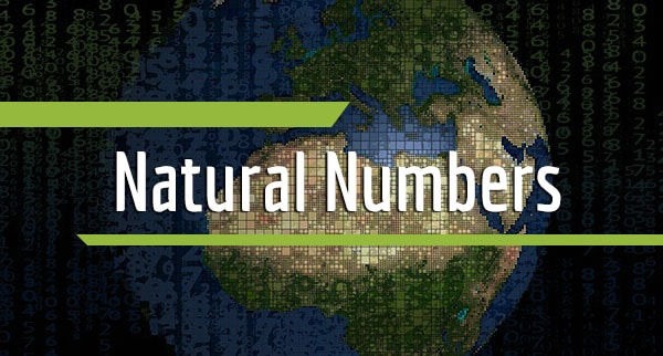 "Many numbers of different sizes with the planet Earth in the background and the text ""natural numbers"" in the foreground"