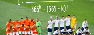 UEFA Nations League semi-final between Netherlands and England (prematch, 06/06/2019), with the birthday problem formula in the background