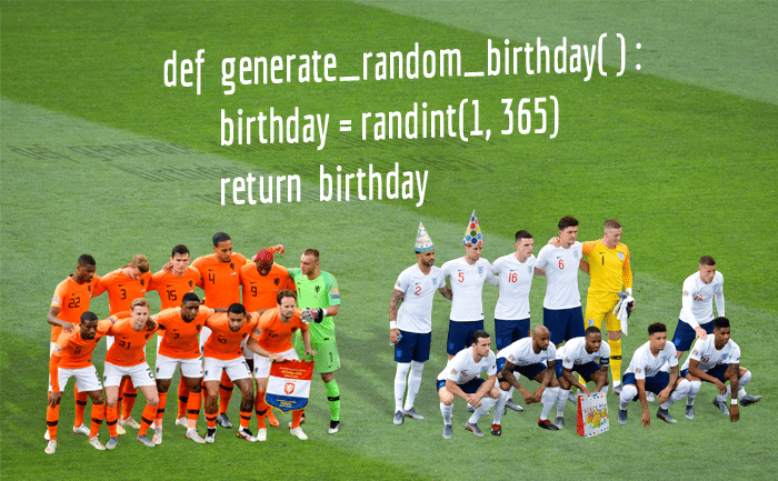 UEFA Nations League semi-final between Netherlands and England (prematch, 06/06/2019), with Python code related to the birthday problem in the background