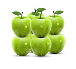 A 2 x 2 x 2 cube of eight green apples