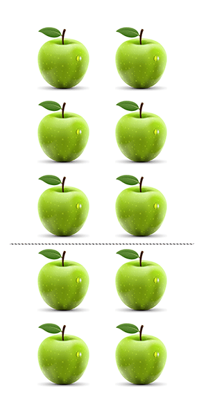 A picture of five rows of two green apples illustrating the distributive property of multiplication over addition for natural numbers
