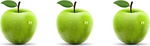 A picture of three green apples