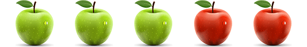A picture of three green and two red apples (commutative property of addition for natural numbers)