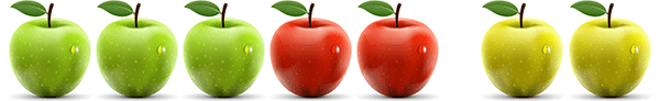 A picture of 3 green, 2 red, and 2 yellow apples illustrating the associative property of addition