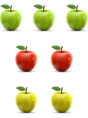 A picture of three rows of 3 green, 2 red, and 2 yellow apples