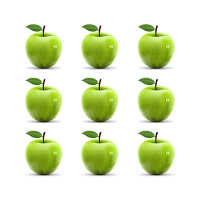 A picture of three rows of three green apples