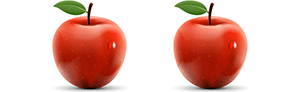 A picture of two red apples