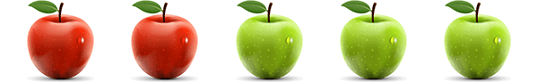 A picture of two red and three green apples (commutative property of addition for natural numbers)