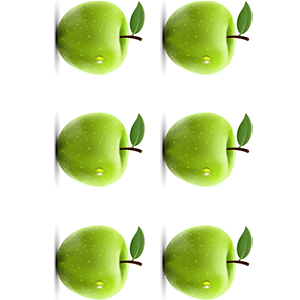 A picture of two rows of three green apples, rotated 90 degrees clockwise
