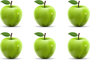 A picture of two rows of three green apples