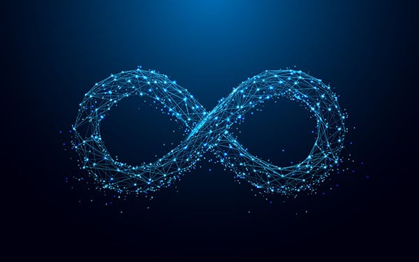 Infinity symbol from lines and triangles, point connecting network on blue background