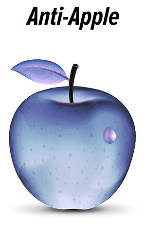 "Artistic depiction of a hypothetical ""anti-apple"" (a ""negative apple"")"