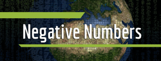 "Many numbers of different sizes with the planet Earth in the background and the text ""negative numbers"" in the foreground"