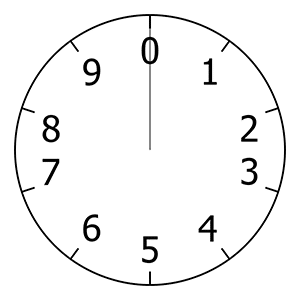 A clock with only 10 hours, starting from 0 and ending at 9